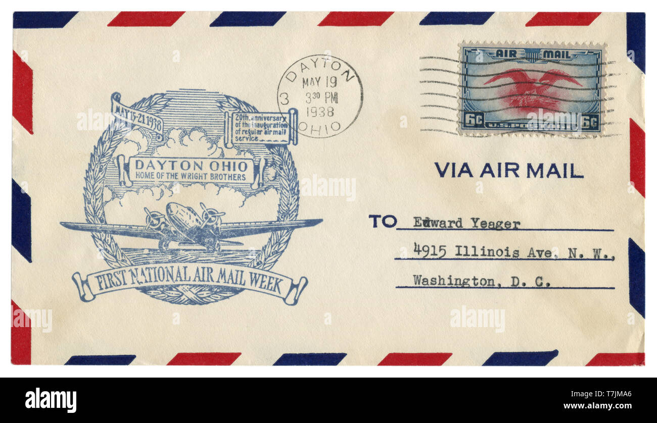 Dayton, Ohio, The USA  - 19 MAY 1938: US historical envelope: cover with cachet Home of the Wright brothers, first national Air mail week, postage - Stock Image