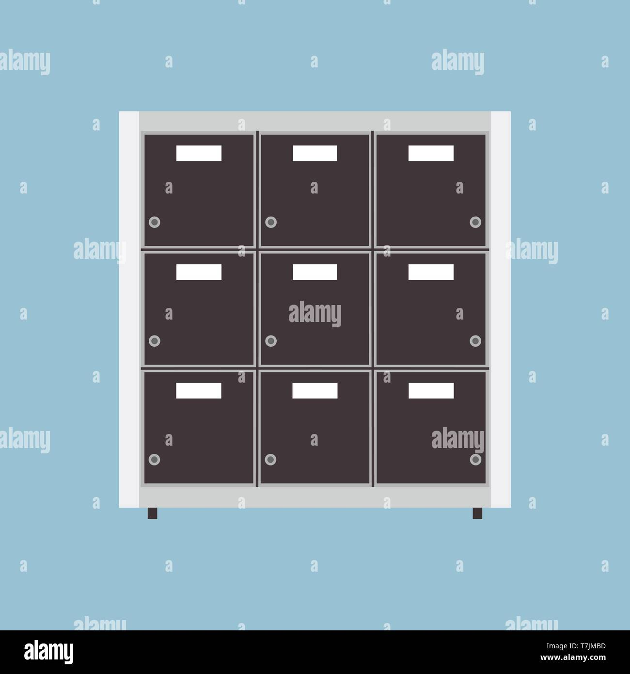 File archive vector icon business document folder data. Isolated storage office. Organize binder catalog cabinet tray - Stock Image