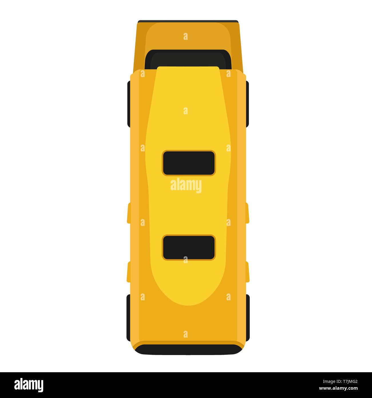 Bus Yellow Vector Flat Icon Vehicle Transportation Top View Isolated
