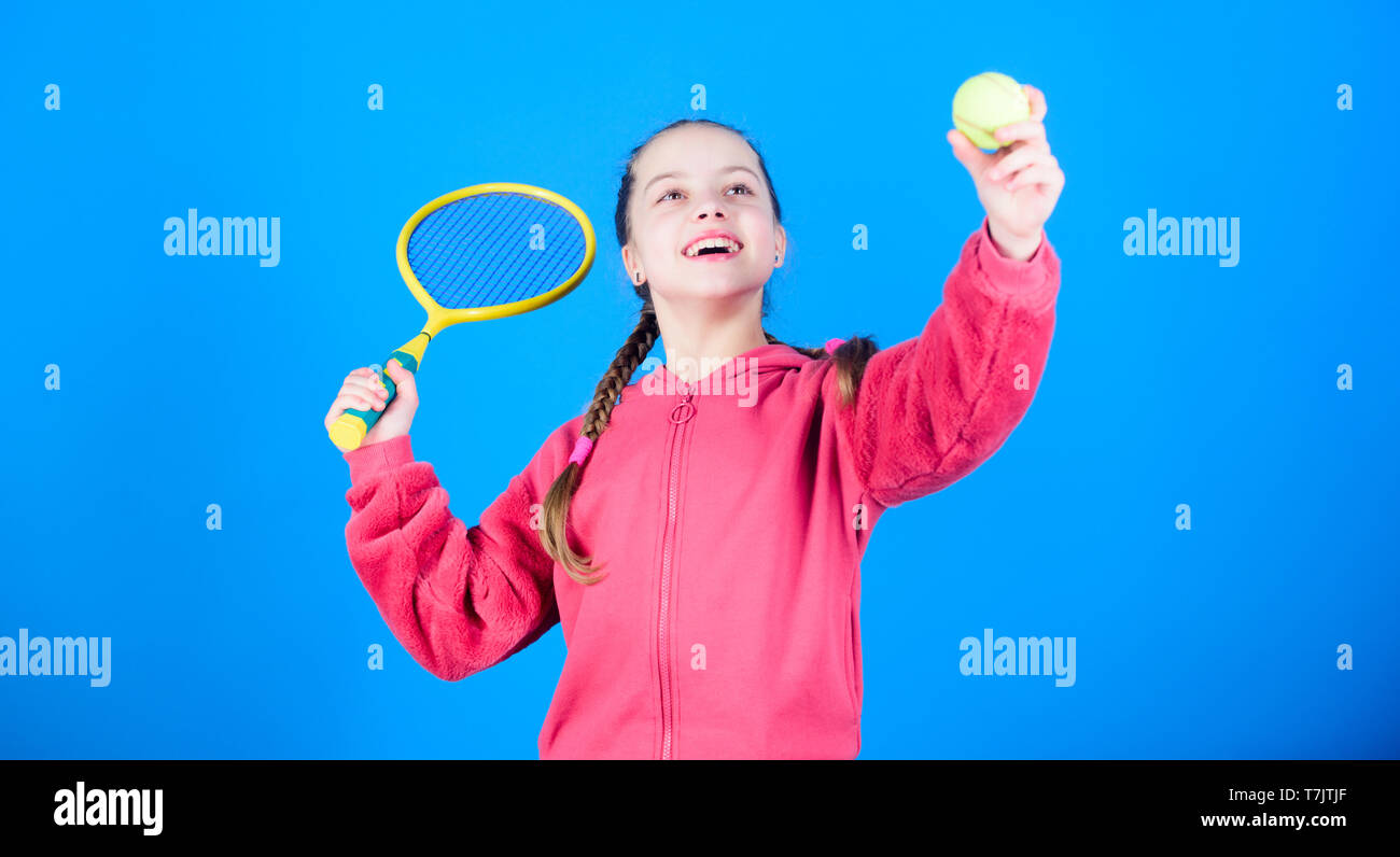 Tennis player with racket and ball  Tennis is fun  Childhood