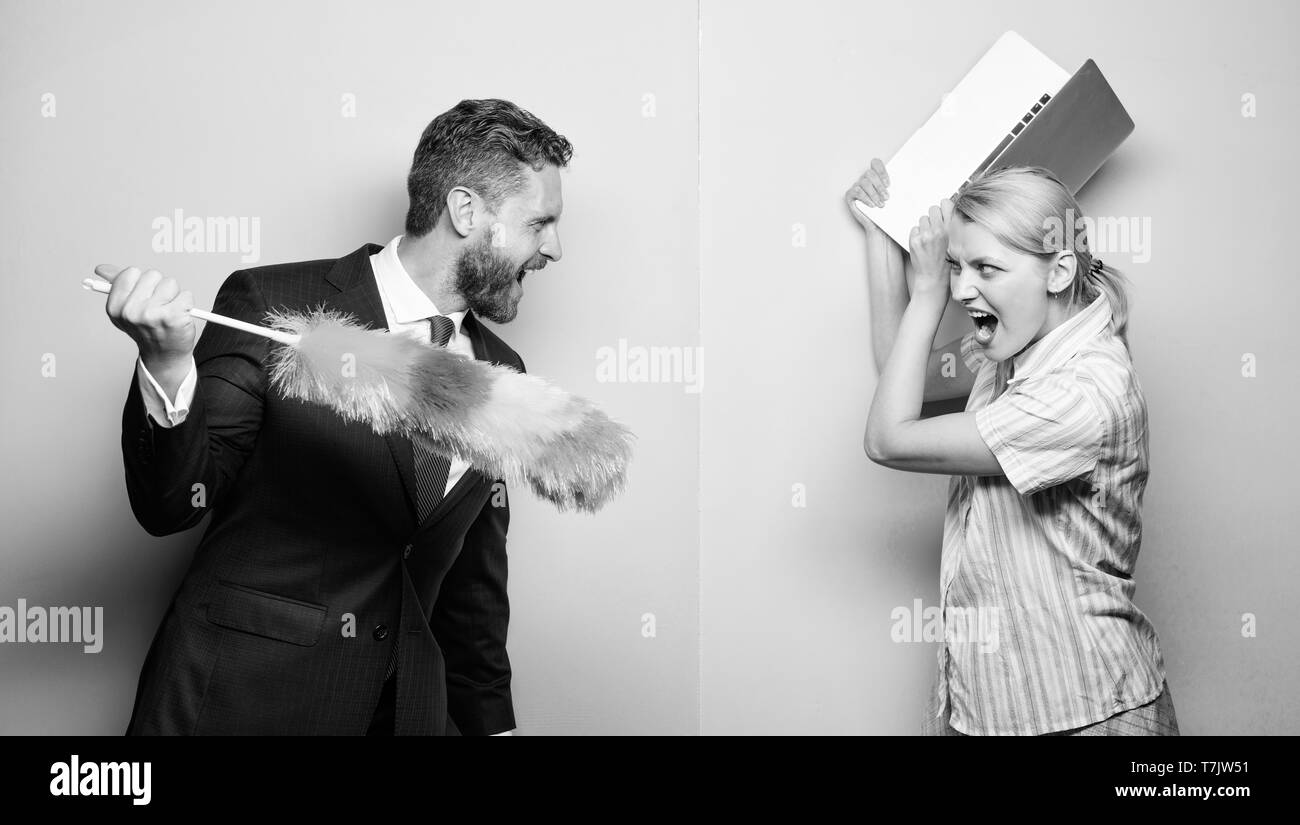 Gender inequality concept. Professional education and careers. Woman choose to work digital technology. Man force girl to clean up. Gender inequality start from household. Gender discrimination. - Stock Image