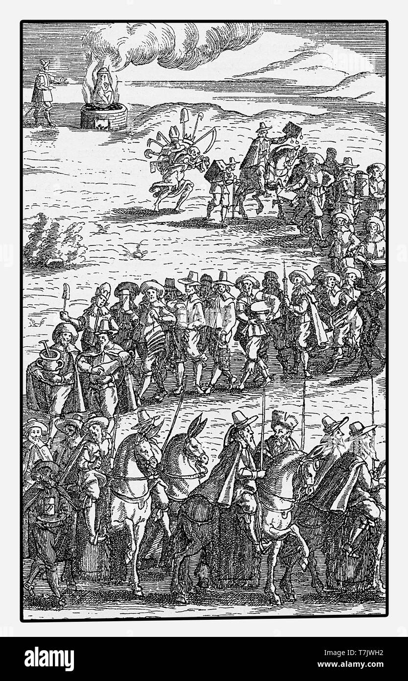 The Totenheer - reproduction of a copper engraving by Philander von Sittenwald of the XVII century. The army of the death is a folk supernatural myth symbolized by ghosts, elves, dead people or the death itself. - Stock Image