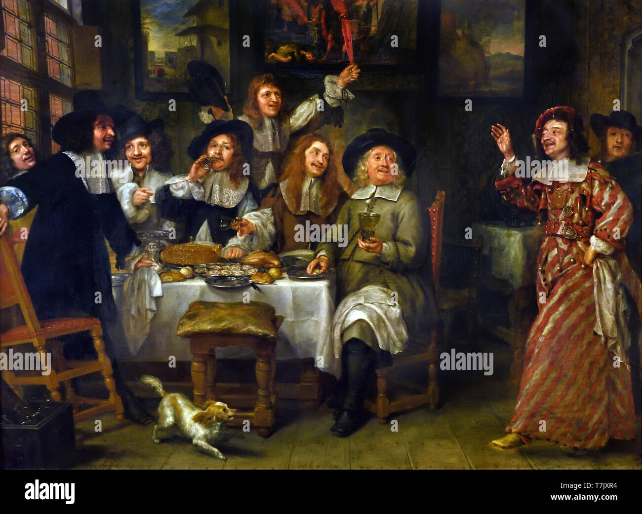 Repas d` artistes - Meal of artists 1660  by Gonzales Coques 1614 - 1684 Flemish Belgian Belgium Stock Photo