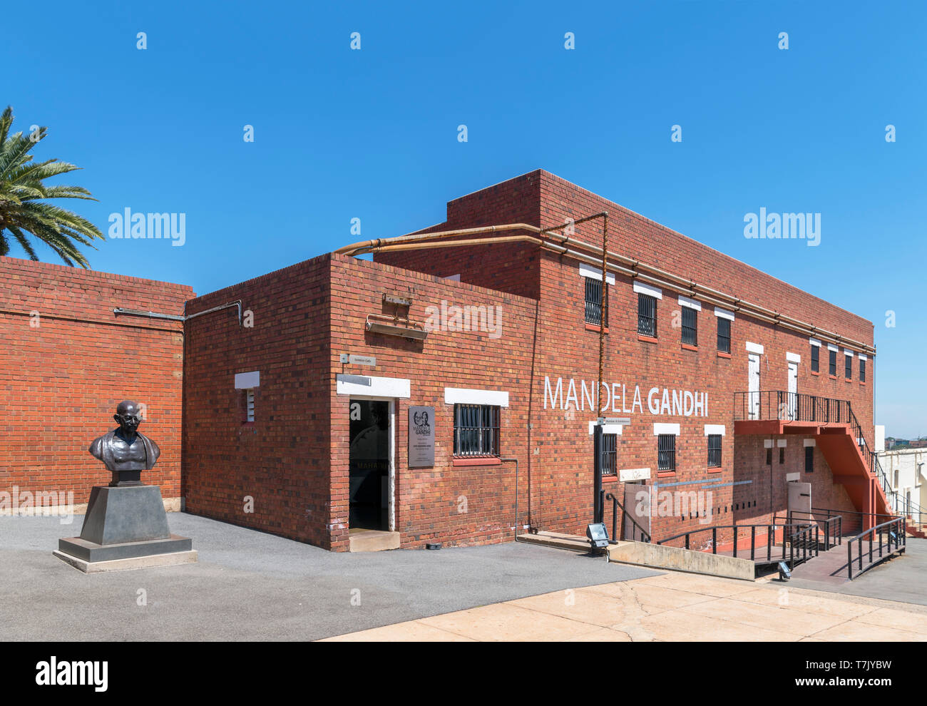 Cell block containing Mandela-Gandhi exhibition, Number Four Jail, Constitution Hill, Johannesburg, South Africa - Stock Image