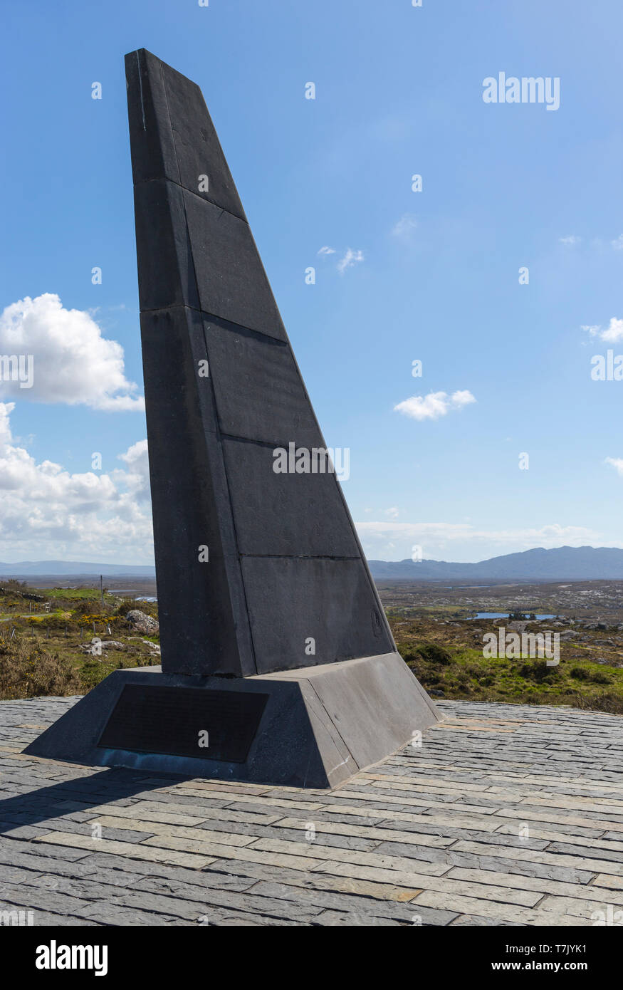 monument commemorating Alcock and Brown first non stop transatlantic flight in June 1919 - Stock Image