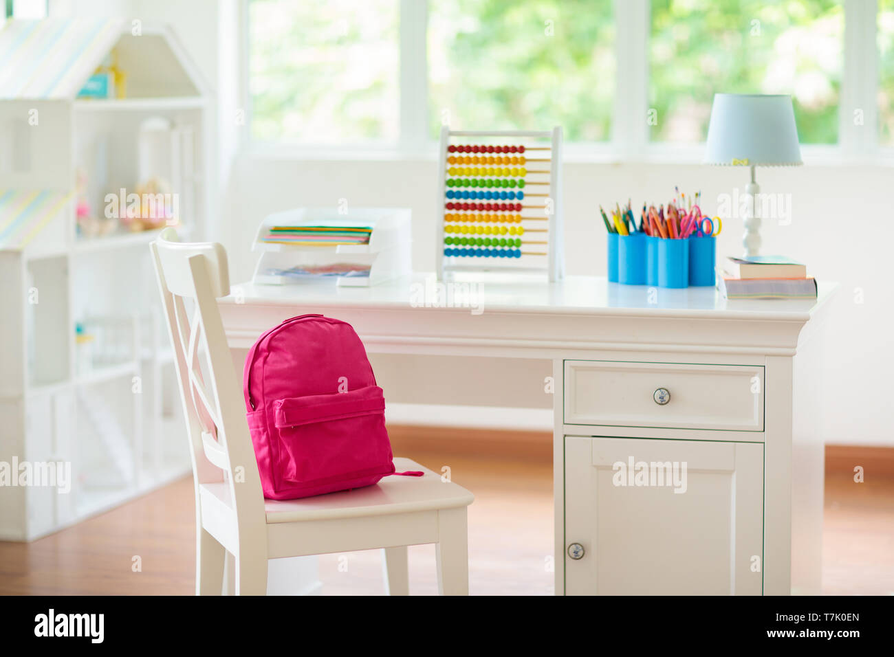 Kids Bedroom With Wooden Desk And Doll House. White Sunny ...