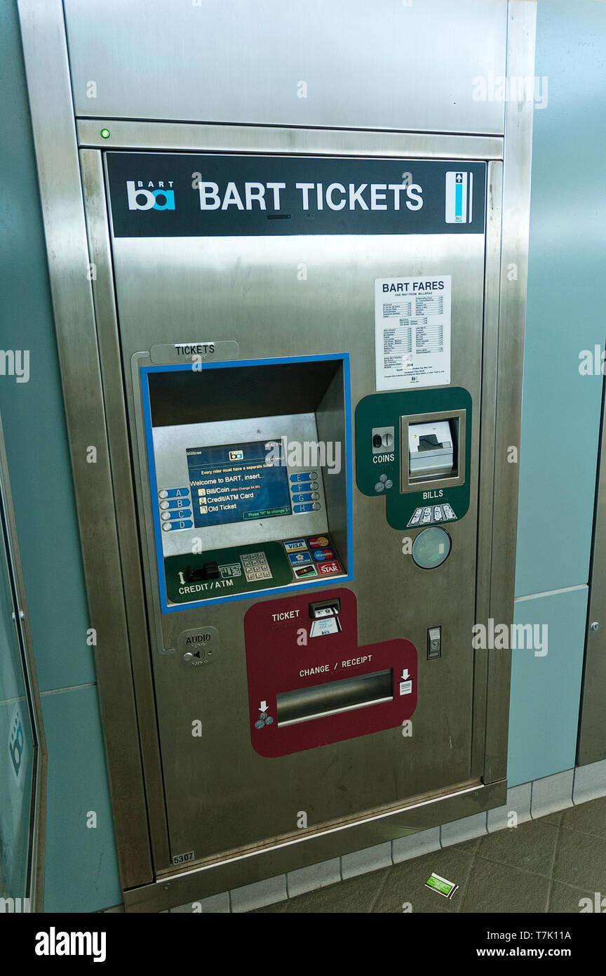 BART ticket machine in Millbrae train station California USA - Stock Image