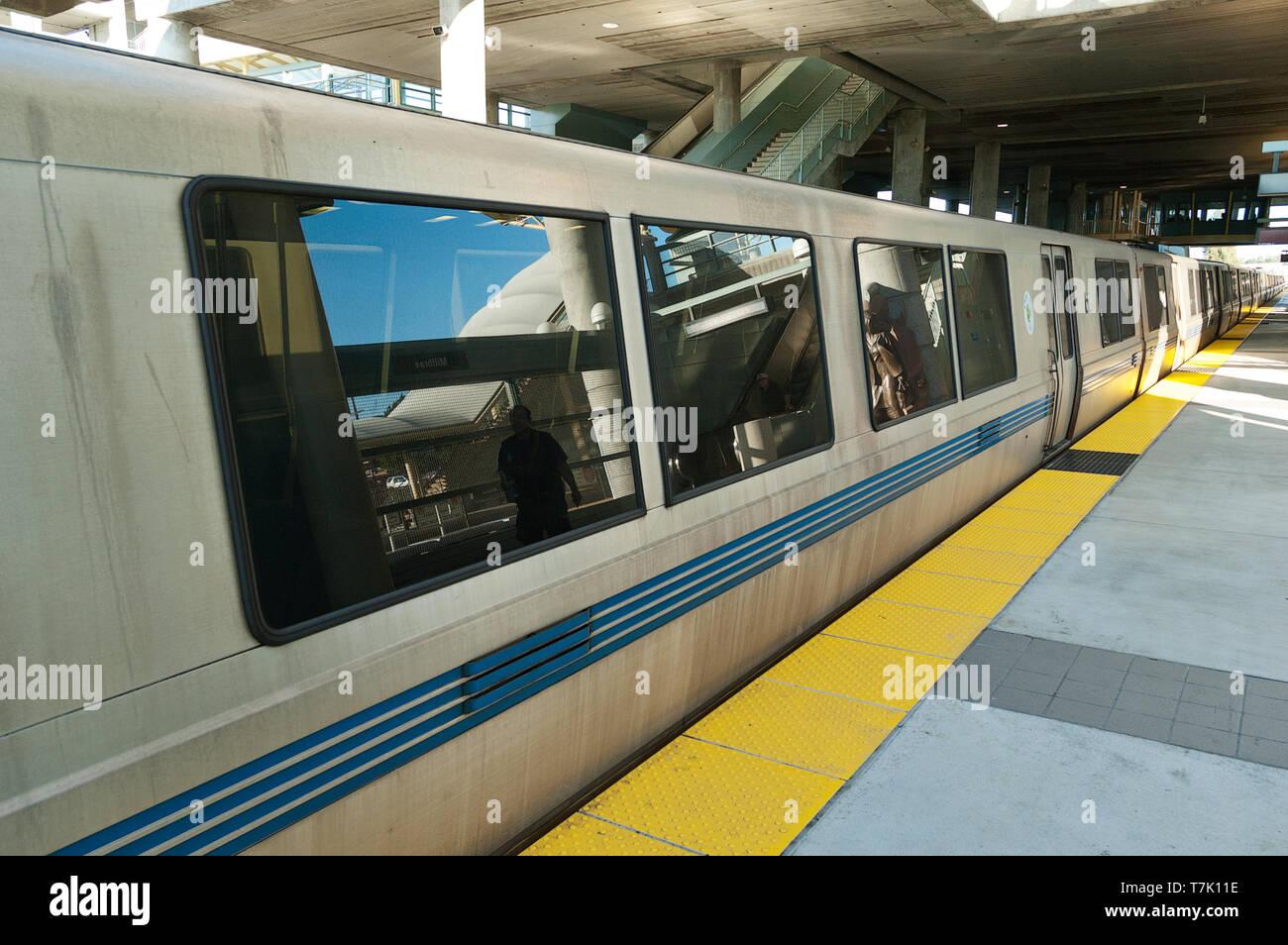 BART train at Millbrae train station California USA - Stock Image