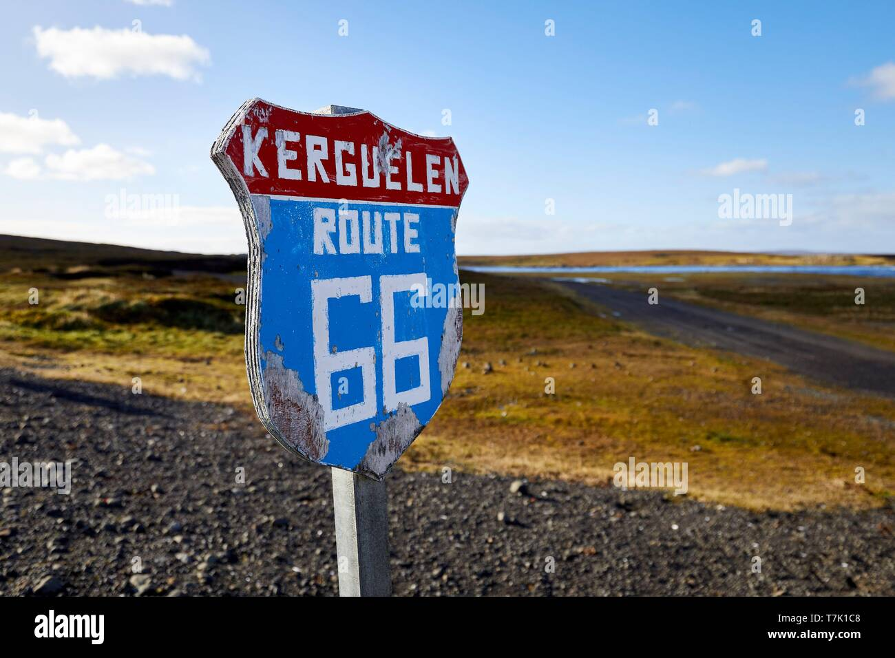 France, French Southern and Antarctic Territories (TAAF), Kerguelen Islands, Port-aux-Français, signpost of the road 66 panneau which leads to the meteo stations and the geophysics station - Stock Image