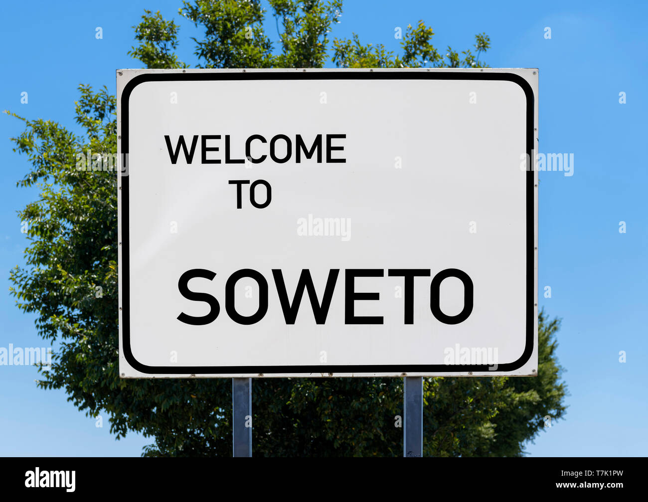 Welcome to Soweto sign, Johannesburg, South Africa Stock Photo
