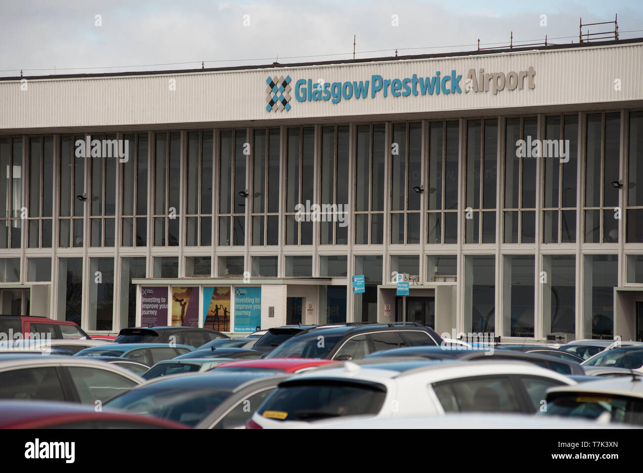 Glasgow Prestwick Airport front of main terminal building on a sunny day Stock Photo