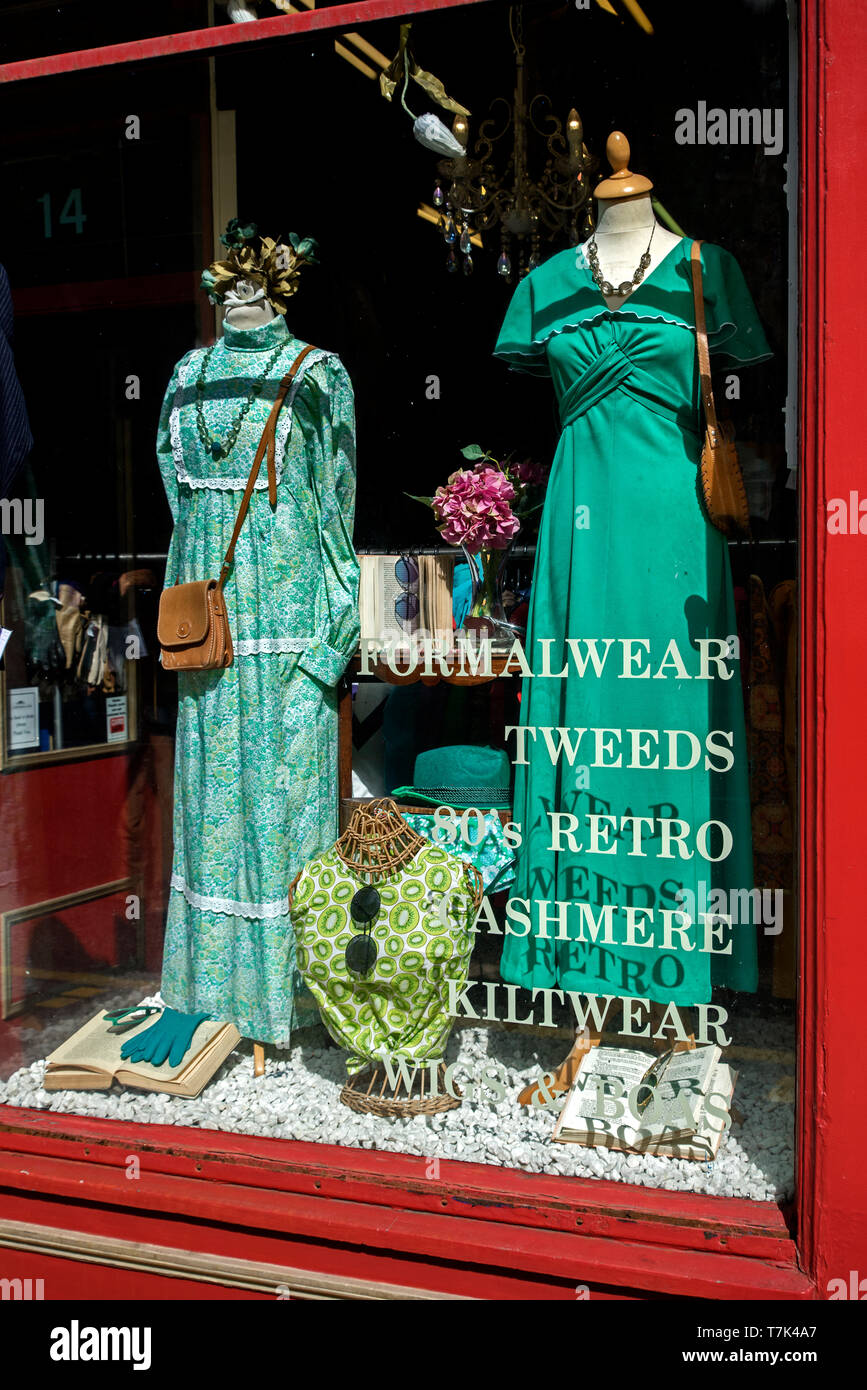 Vintage clothes in the the window of Armstrong's vintage clothing store in Edinburgh, Scotland, UK. - Stock Image