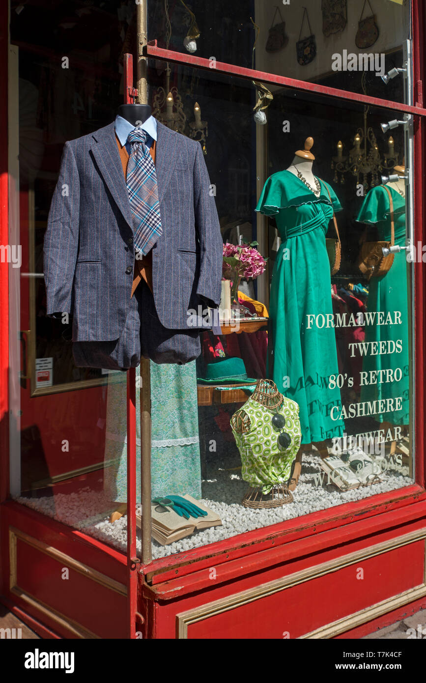 Vintage clothes on display at Armstrong's vintage clothing store in Edinburgh, Scotland, UK. - Stock Image