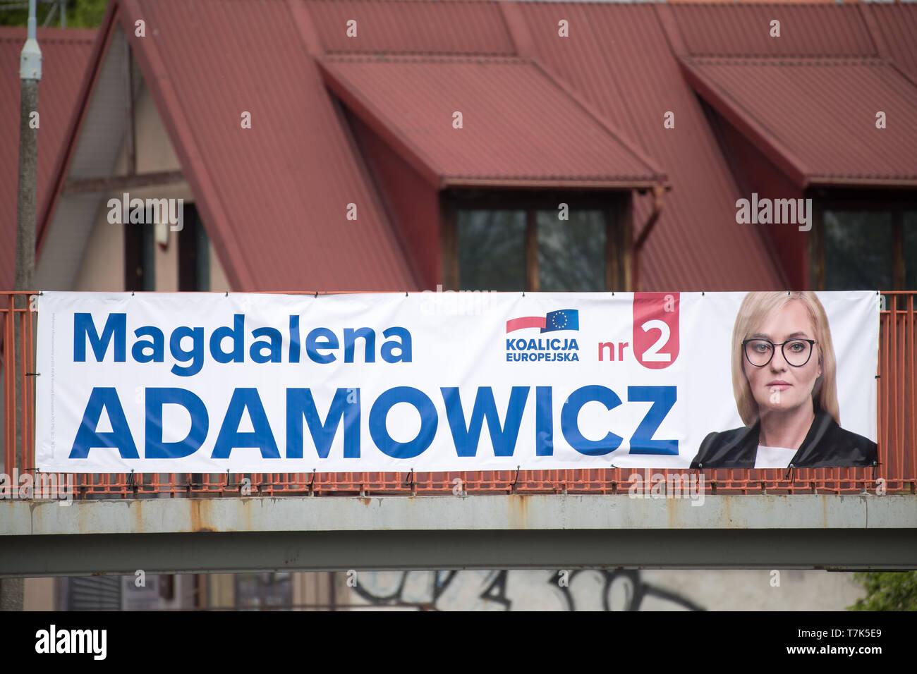 Magdalena Adamowicz's bilboard, candidate of Koalicja Europejska (European Coalition) in 2019 European Parliament election campaign. Gdansk, Poland. M - Stock Image