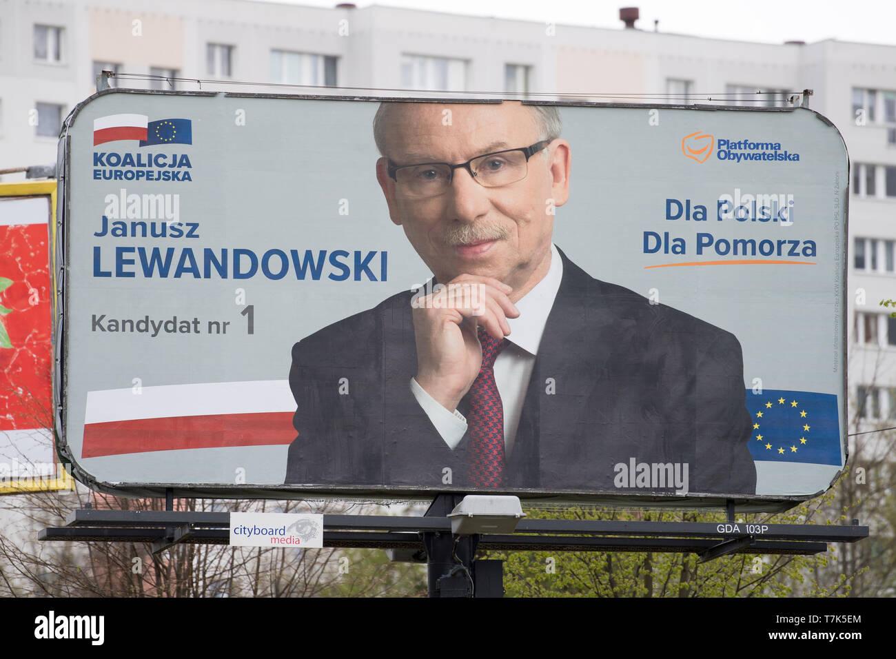Janusz Lewandowski's bilboard, candidate of Koalicja Europejska (European Coalition) in 2019 European Parliament election campaign. Gdansk, Poland. Ma - Stock Image