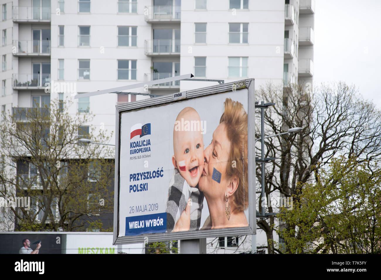 Koalicja Europejska bilboard (European Coalition) in 2019 European Parliament election campaign. Gdansk, Poland. May 4th 2019  © Wojciech Strozyk / Al - Stock Image