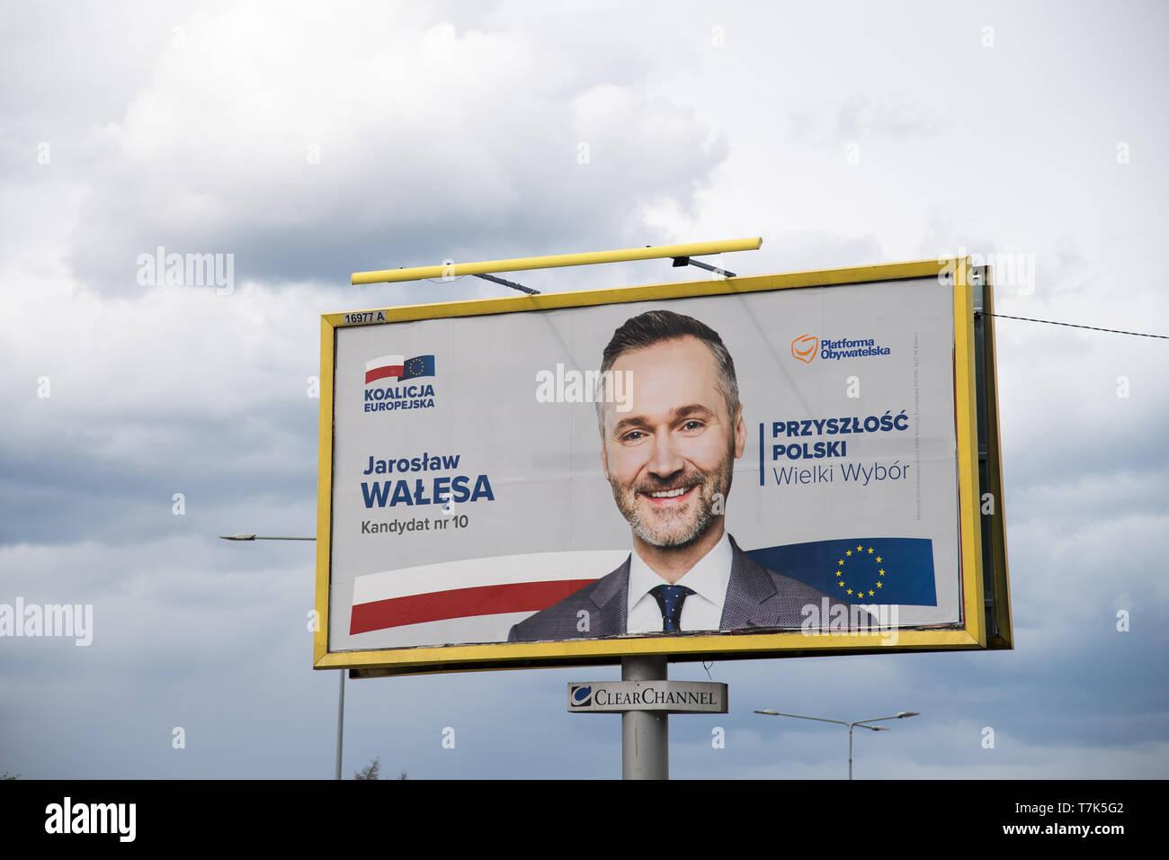 Jaroslaw Walesa's bilboard, candidate of Koalicja Europejska (European Coalition) in 2019 European Parliament election campaign. Gdansk, Poland. May 4 - Stock Image