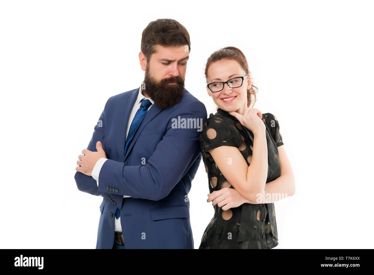 Figure out type of position you would really enjoy. Colleagues looking for new job. Man and woman compete for job position. Labor market competition. Job interview. HR manager. Office job lifestyle. - Stock Image