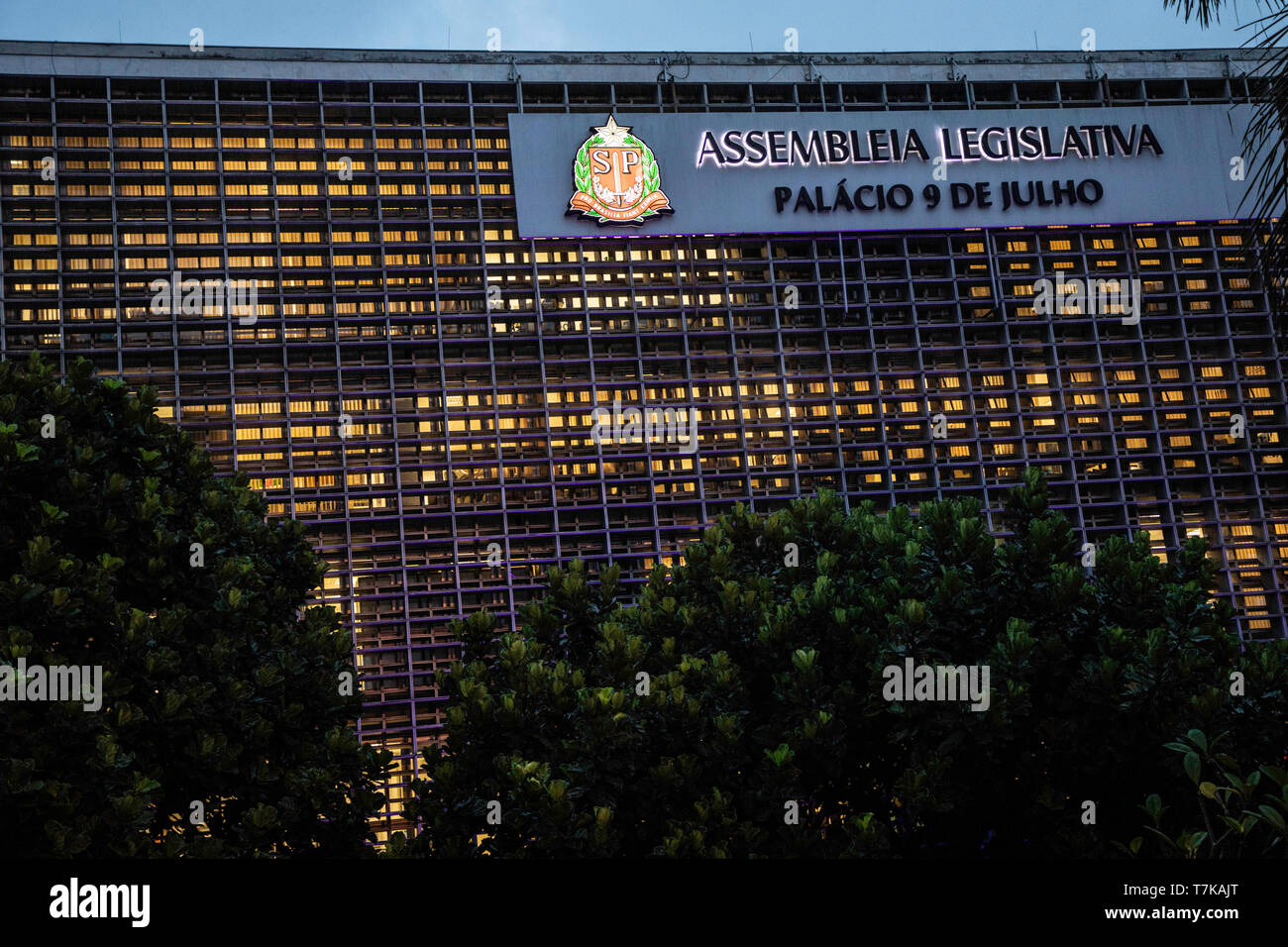 SÃO PAULO, SP - 07.05.2019: SESSÃO ALESP - Main facade of the Legislative Assembly of São Paulo, in the south zone of the city, on the afternoon of this Tuesday (01). PL 001, which deals with the privatization of public companies, is still on the agenda. (Photo: Bruno Rocha/Fotoarena) - Stock Image
