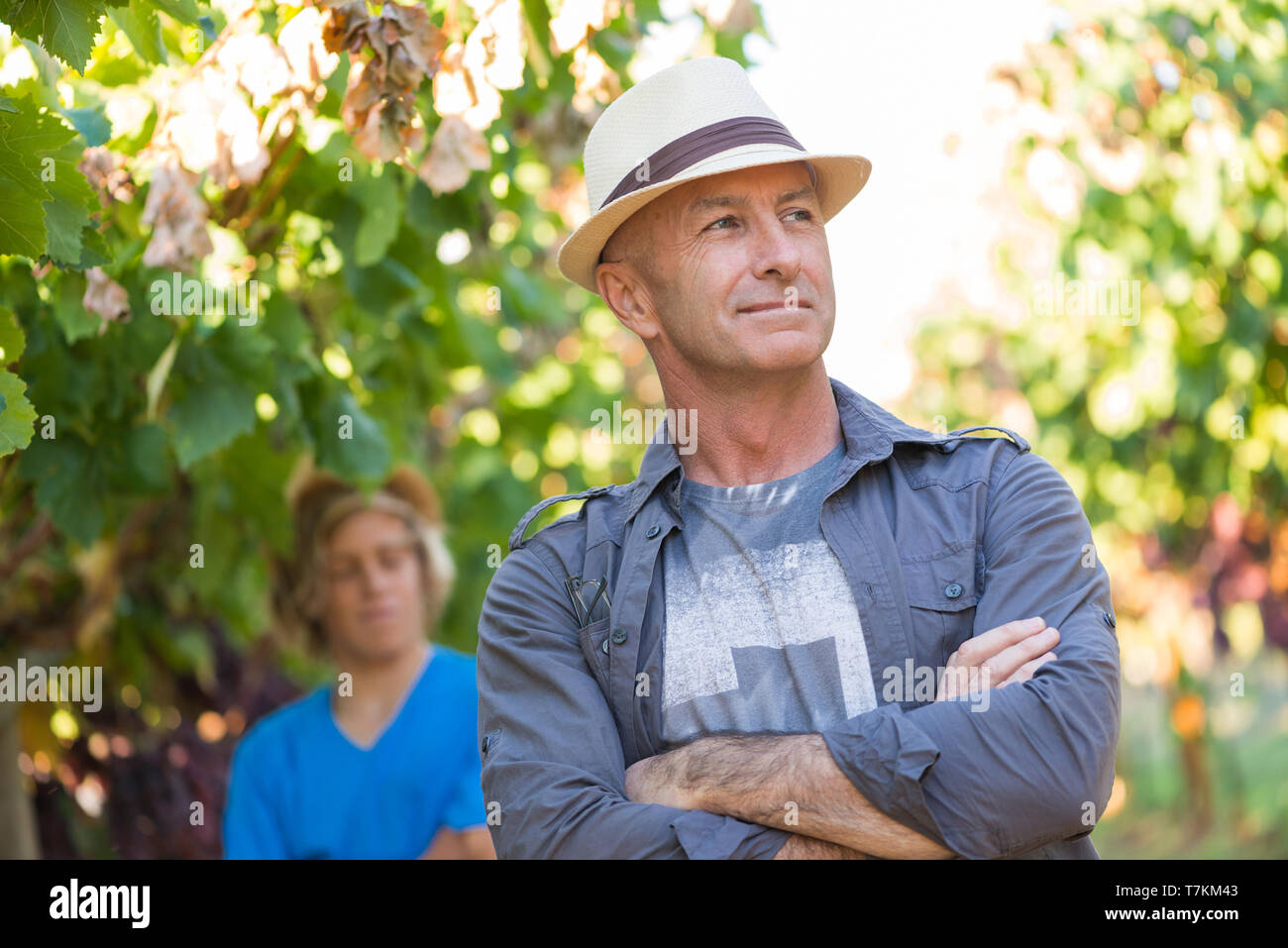 Successful winemaker at their vineyard - Stock Image