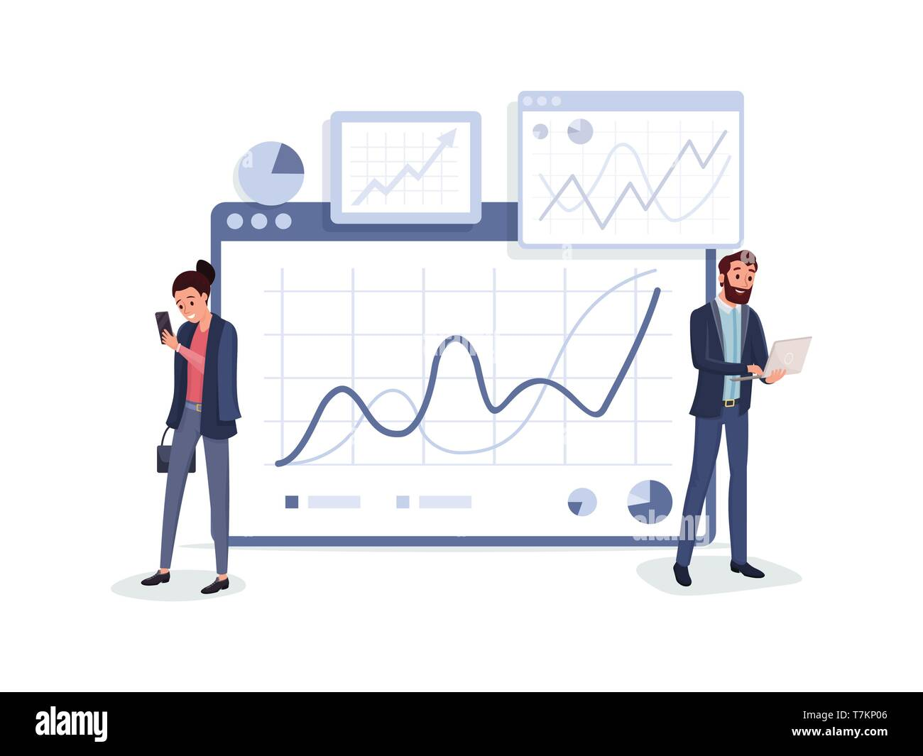 Cartoon business people in suits with laptop and smartphone standing near charts graphs diagrams vector illustration. Teamwork concept. Isolated on white - Stock Vector