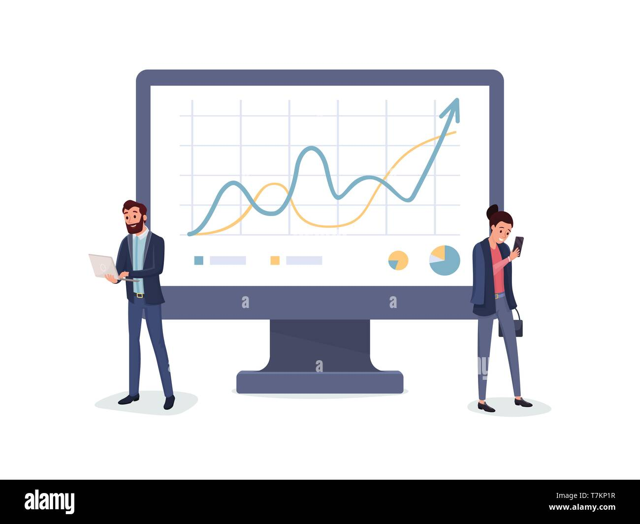 Business people in suits with laptop and smartphone standing near charts graphs diagrams vector illustration - Stock Vector