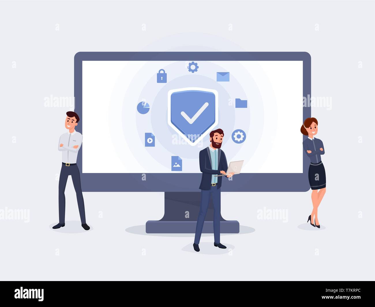 Business people with protection screen. People protect their data on device flat design vector illustration. Use for landing page, web or mobile app, banner. Secure data concept - Stock Vector