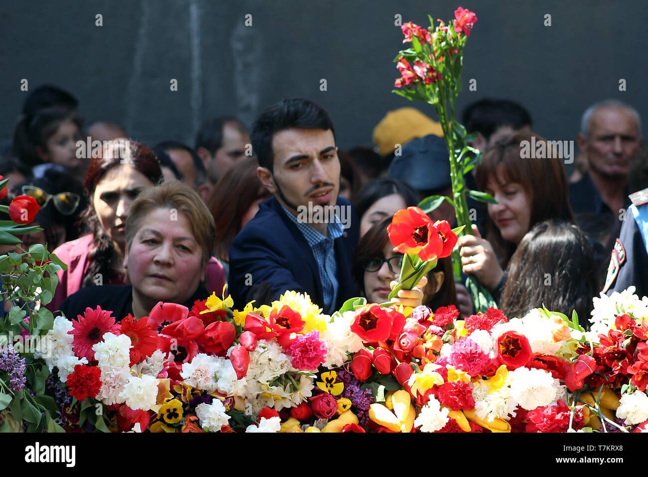 Flowers in the memorial complex 'Tsitsernakaberd' - Stock Image