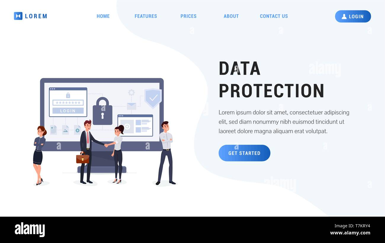 Landing page data protection concept. Business people with secure screen. People protect their data on device flat design vector illustration - Stock Vector