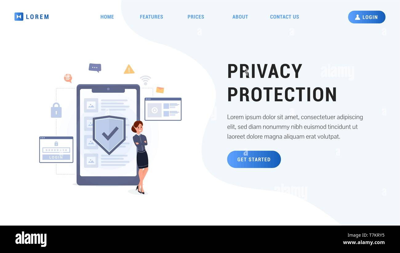 Landing page privacy protection concept. Business woman with secure mobile screen flat design vector illustration. Network security web page, banner, presentation - Stock Vector