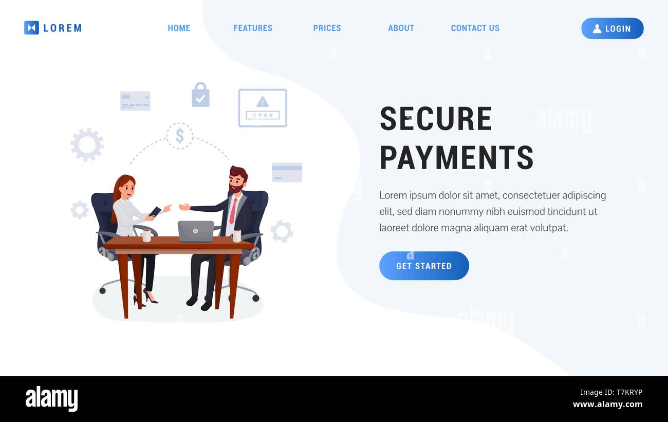 Secure payment website concept. Electronic bill, online payment, finance data protection. Money safety - Stock Image