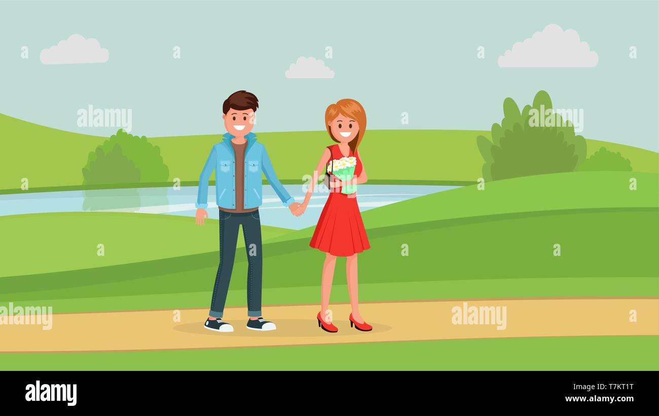 Two young people holding hands and walking in park flat style vector illustration - Stock Vector