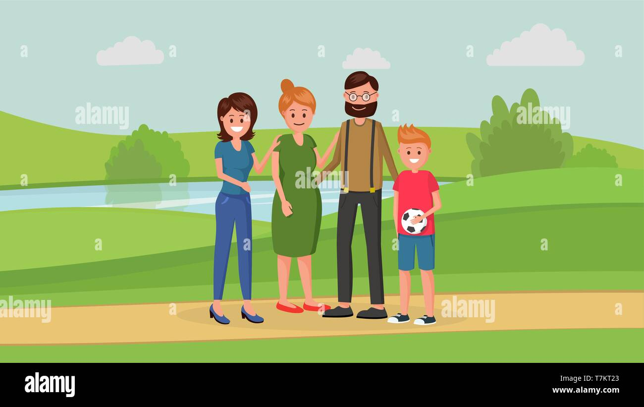 Mother and father with two children of different age younger boy and older girl standing in park flat style vector illustration. Family concept - Stock Vector