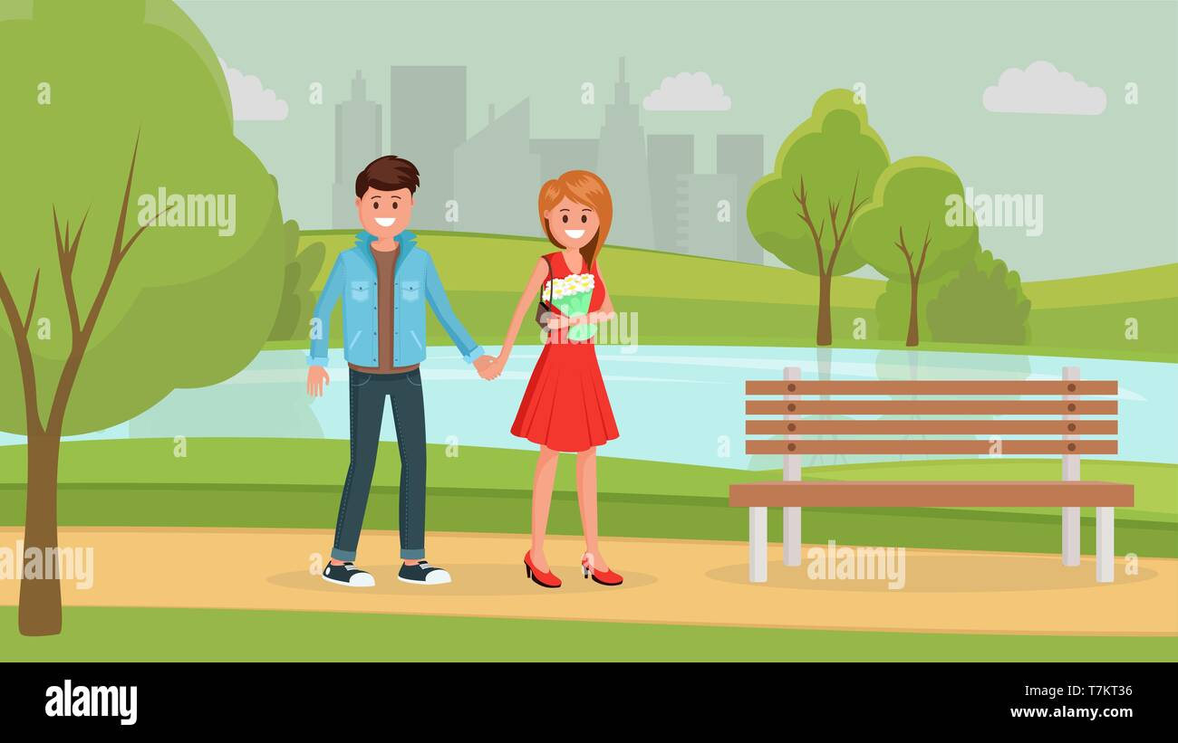 Two cartoon young people holding hands and walking. Woman carrying bouquet of white flowers and smiling going in urban park with lake vector illustration. City landscape on background - Stock Vector