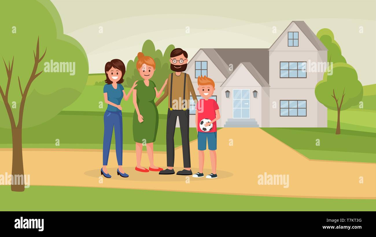 Cartoon mother and father standing near house with two children of different age younger boy and older girl vector illustration. Outskirt landskape - Stock Vector