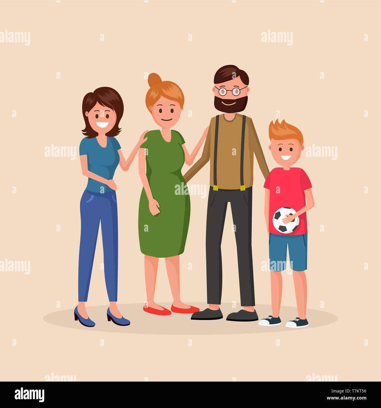 Mother and father standing with two children of different age younger boy and older girl vector illustration isolated on light background - Stock Vector