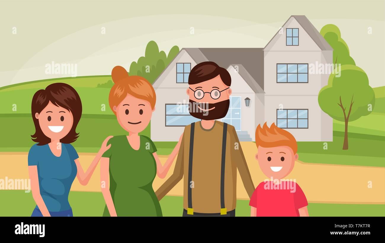 Family standing near house flat style design vector illustration - Stock Vector