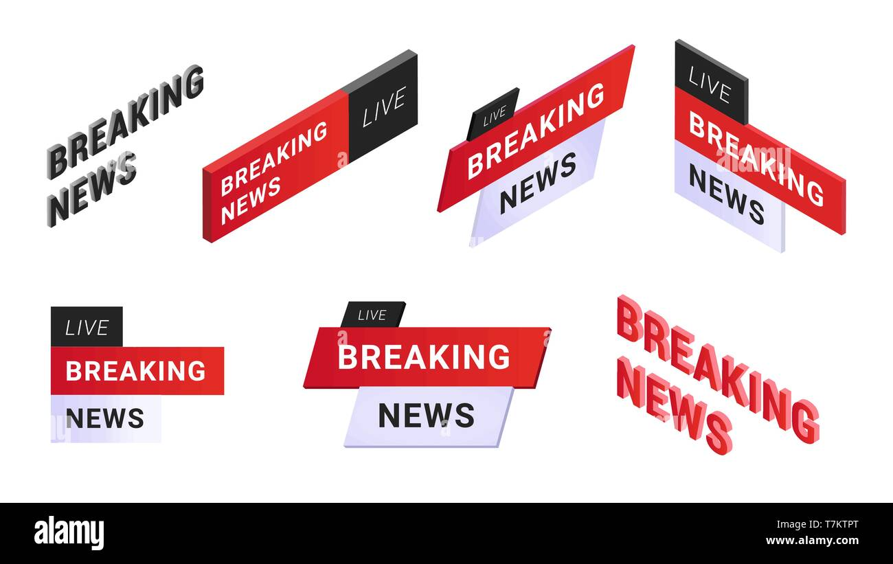 Set Of Breaking News Labels Emblem In One White Black And Red