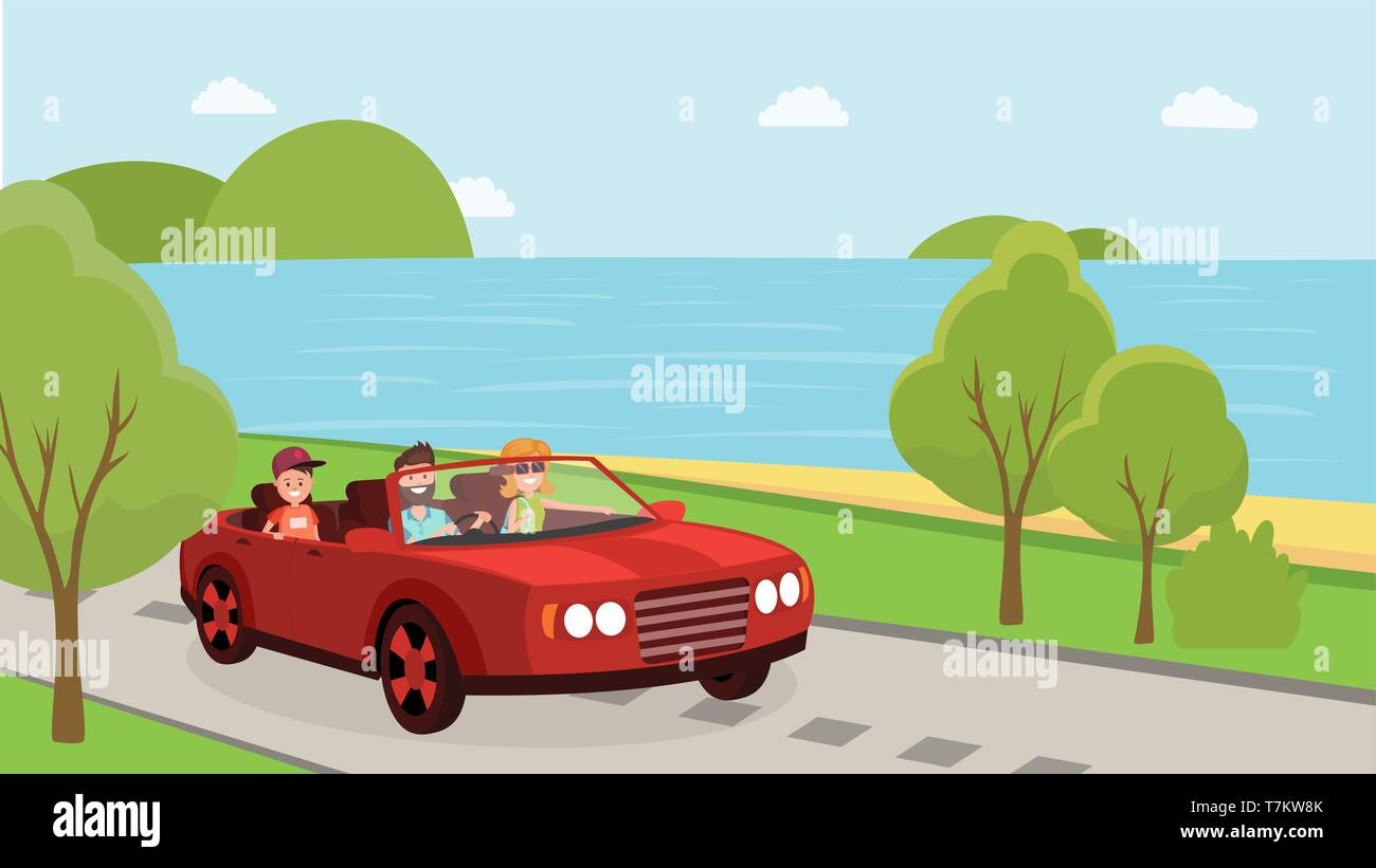 Happy parents with child enjoying travelling near ocean. Journey or travel concept. Family rides in car on vacation flat style vector illustration - Stock Image