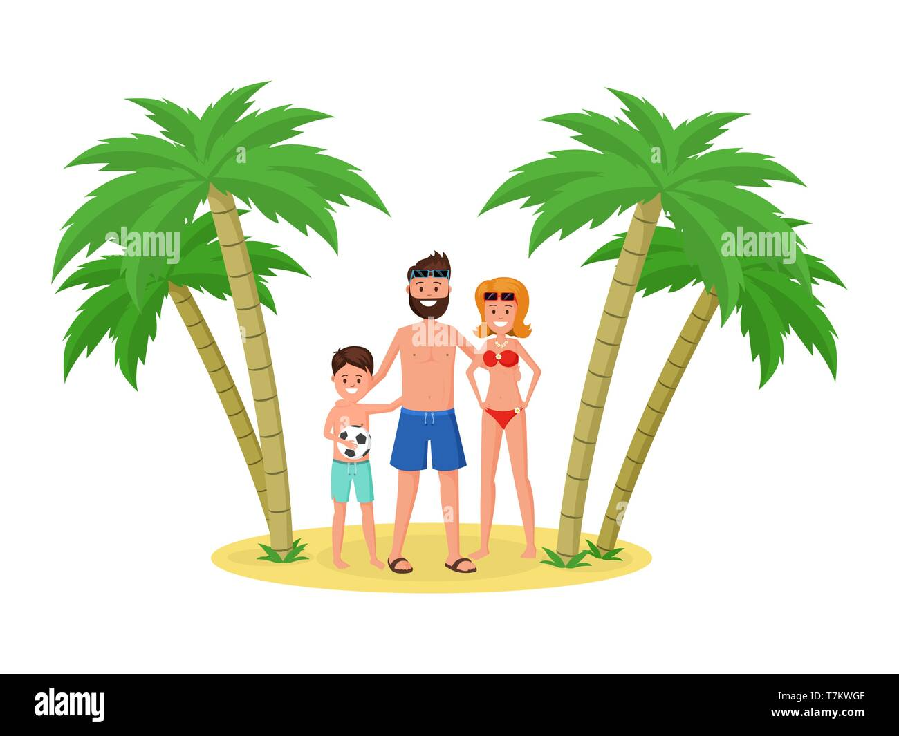 Mother father and son on gold beach. Happy family on vacation, holidays concept flat style vector illustration Stock Vector