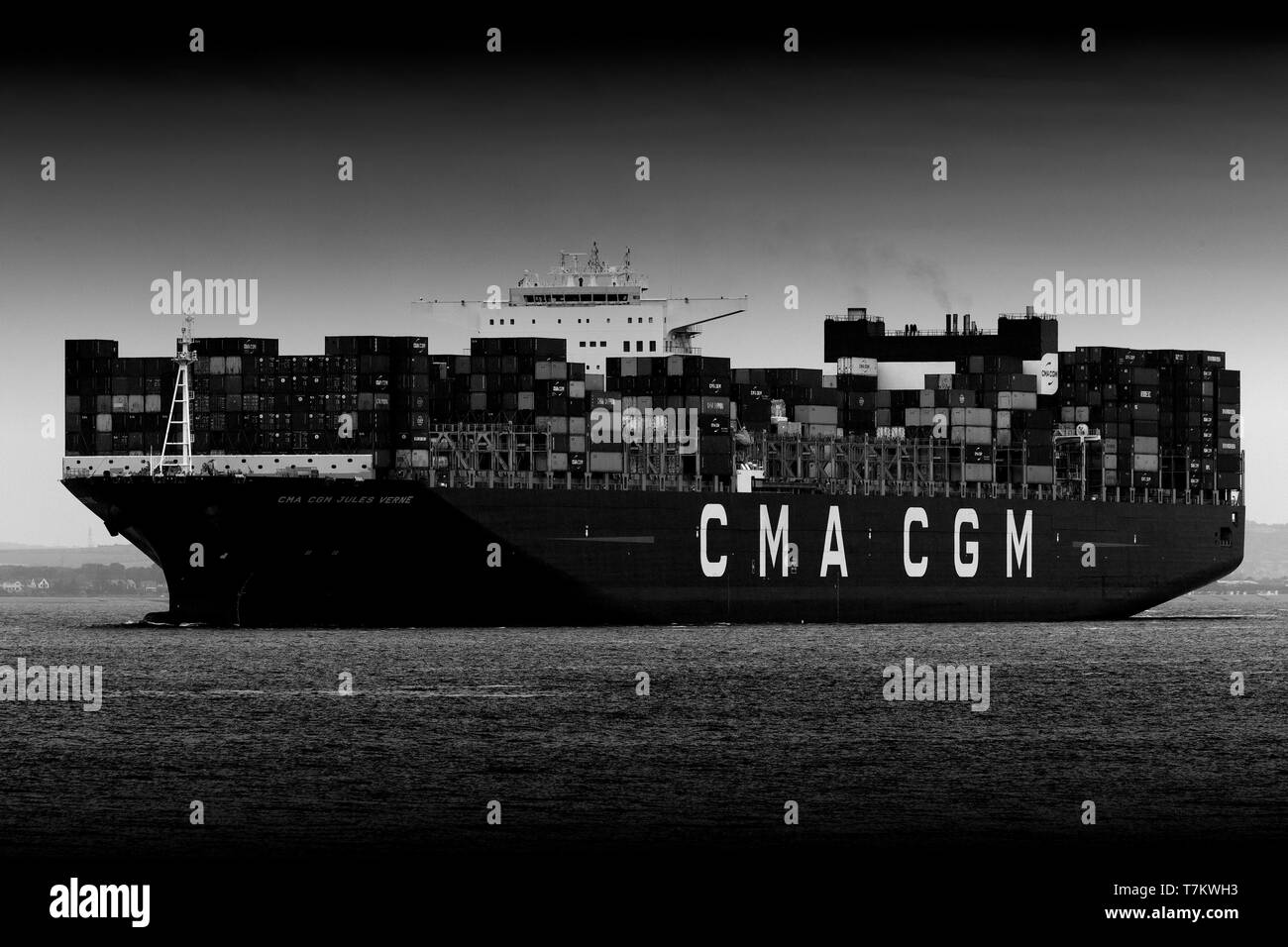 CMA CGM, container,ship, Jules Vern, entering,Southampton,water,The Solent, off, Cowes, Isle of Wight, England,UK, - Stock Image