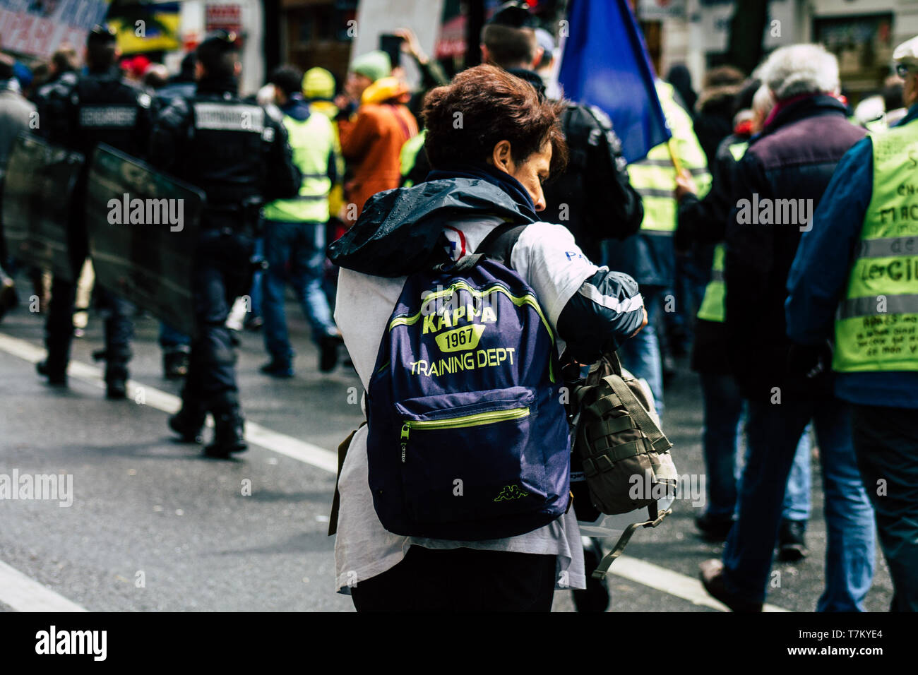 Paris France May 04, 2019 View of French street medic walking in the street during protests of the Yellow jackets - Stock Image
