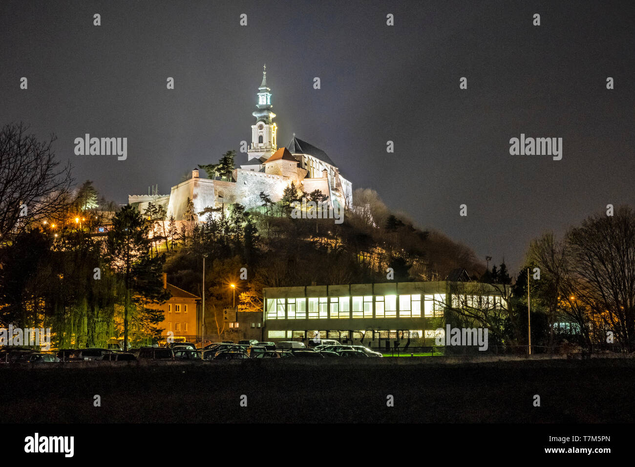 Ancient castle in Nitra, Slovak republic. Night scene. Cultural heritage. Architectural theme. - Stock Image