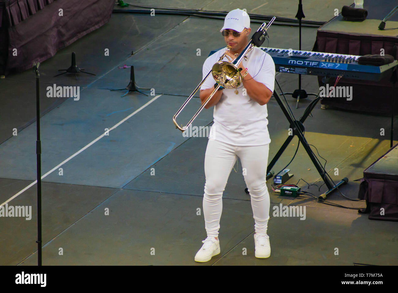 Orlando, Florida. March 17, 2019. Band Trumpeter by Gente de Zona at Seaworld  in International Drive Area . Stock Photo