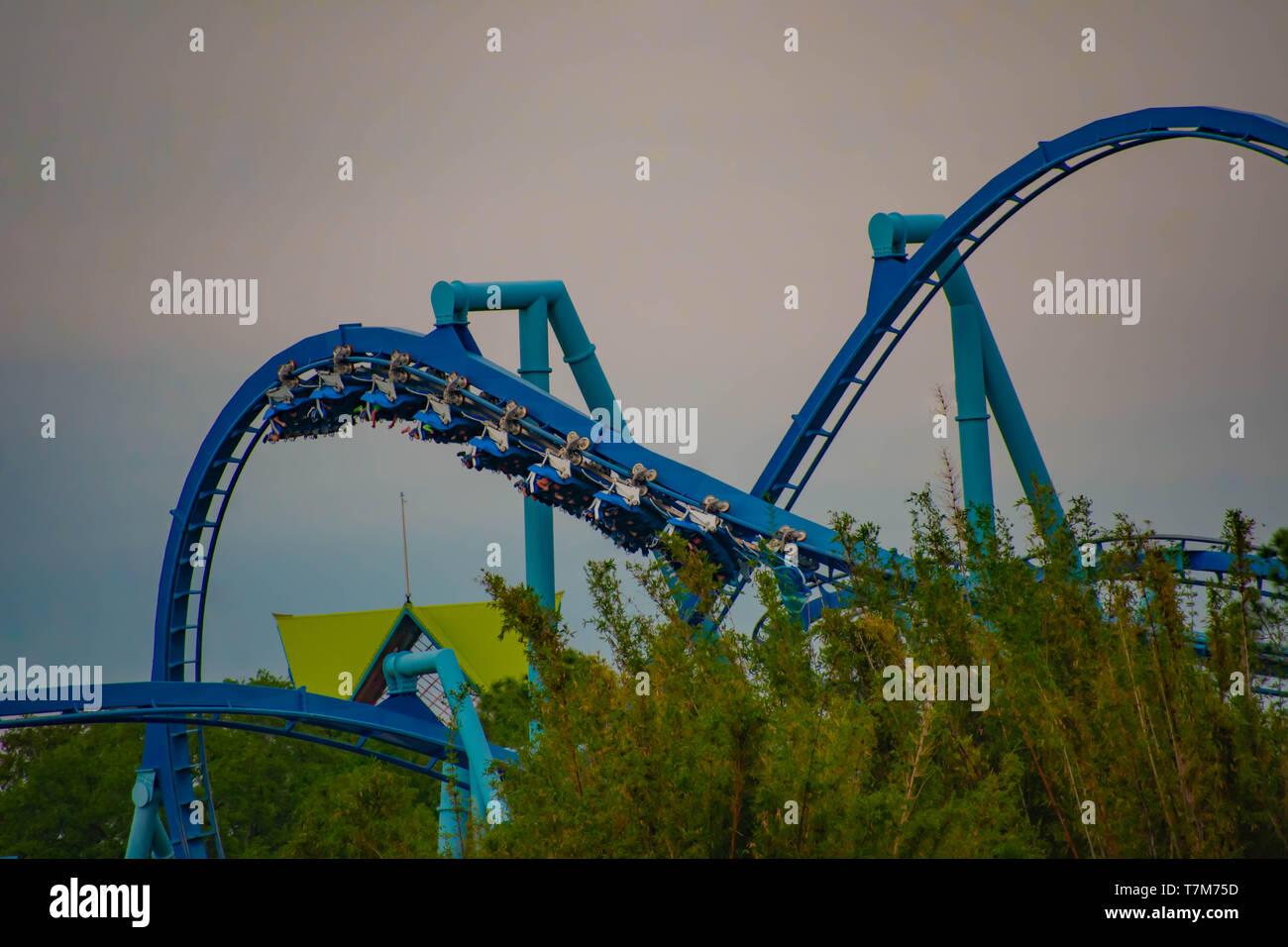 Orlando, Florida. March 17, 2019. People enjoying Manta Ray rollercoaster at Seaworld  in International Drive Area . Stock Photo