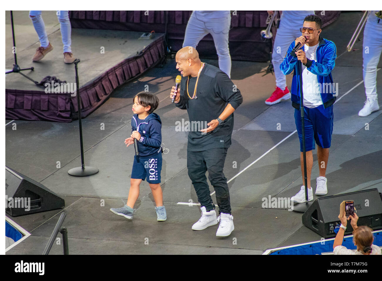 Orlando, Florida. March 17, 2019. Randy Malcom and Alexander Delgado by Gente de Zona singing urban music at Seaworld  in International Drive Area  (1 Stock Photo