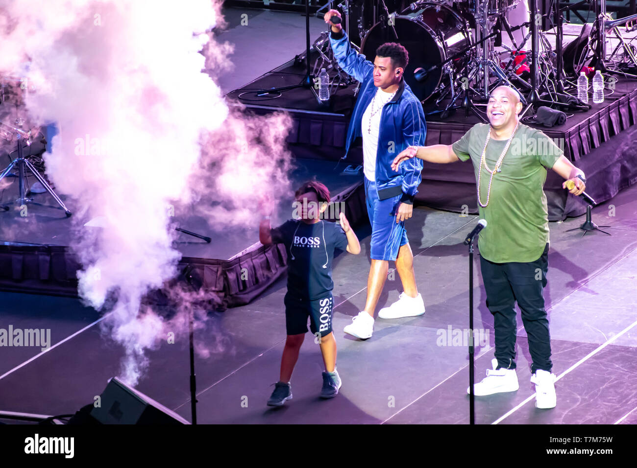 Orlando, Florida. March 17, 2019. Randy Malcom and Alexander Delgado by Gente de Zona singing urban music at Seaworld  in International Drive Area  (3 Stock Photo