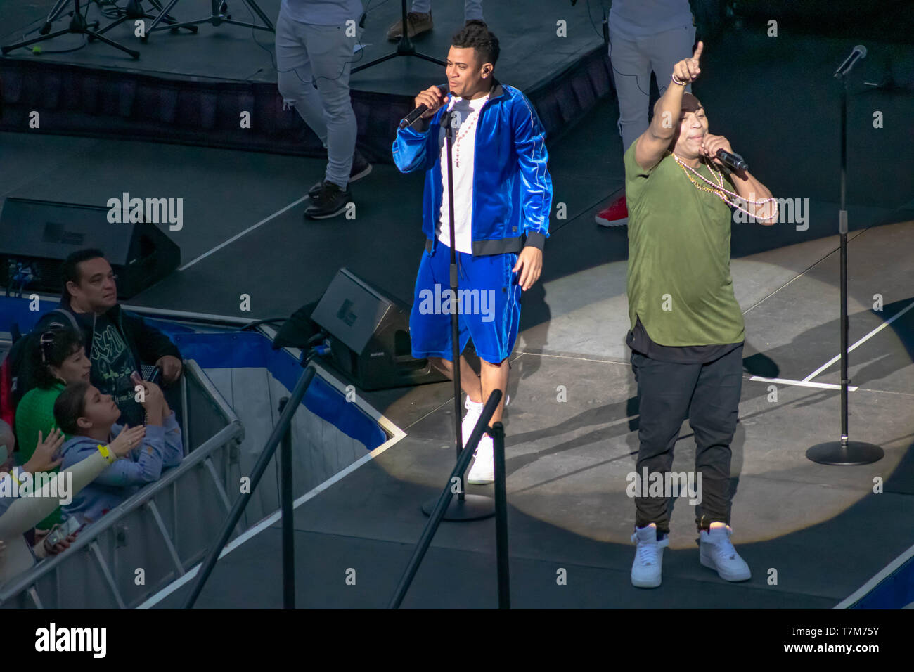 Orlando, Florida. March 17, 2019. Randy Malcom and Alexander Delgado by Gente de Zona singing urban music at Seaworld  in International Drive Area  (4 Stock Photo