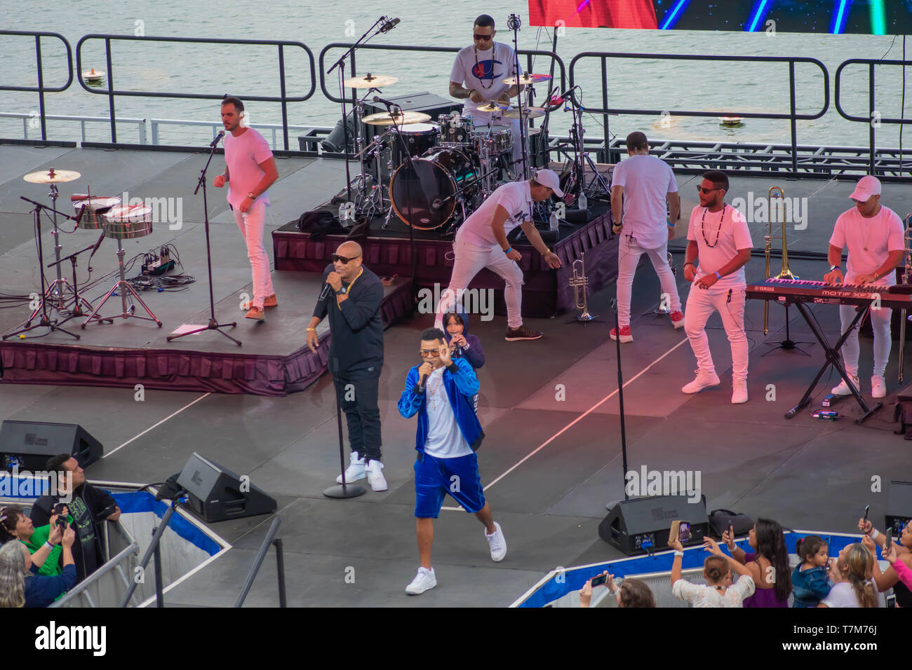 Orlando, Florida. March 17, 2019. Randy Malcom and Alexander Delgado by Gente de Zona singing urban music at Seaworld  in International Drive Area . Stock Photo