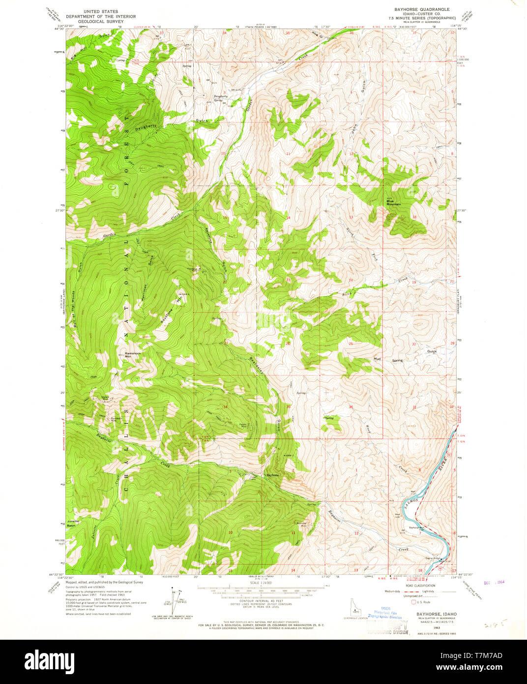 USGS TOPO Map Idaho ID Bayhorse 235184 1963 24000 ...